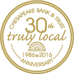 Chesapeake Bank & Trust 30th Anniversary 2016